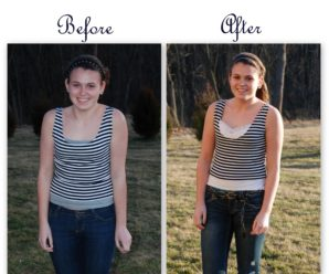 Refashioning a Cute Striped Shirt by Adding Lace & Making It Longer