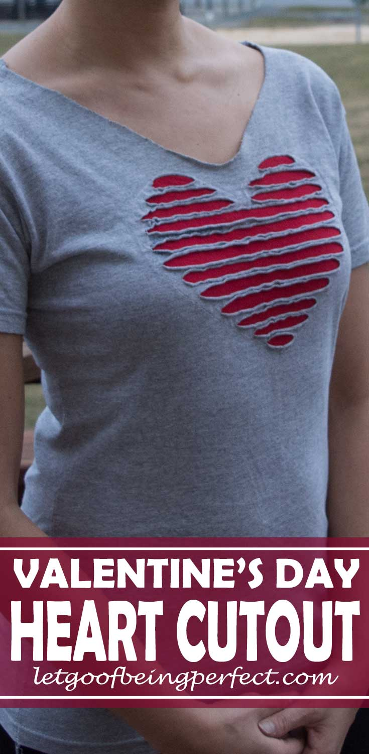 Refashion a faded gray-t-shirt into a heart cut out for Valentine's Day. #sewing #diy #refashion #upcycle