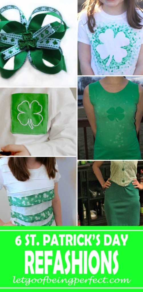 6 St. Patrick's Day clothing refashions and step-by-step sewing tutorials. #recycle #upcycle #refashionista #crafts #diy #clothes