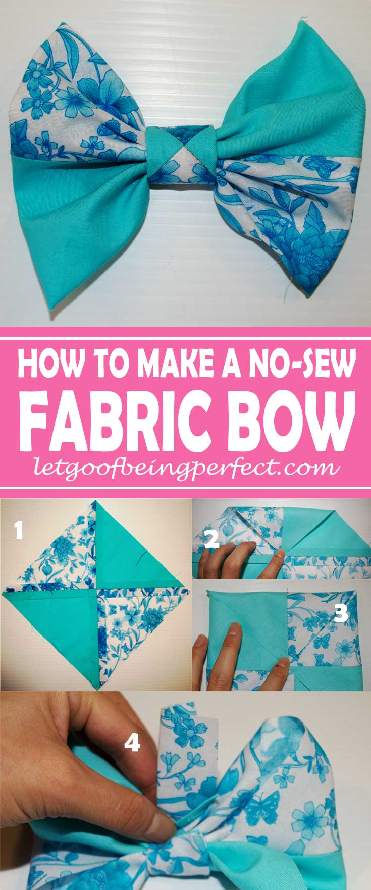 Making Fabric Bows ... Bows, Bows, Bows Everywhere! Making fabric bows is super simple. Step-by-step DIY tutorial - NO SEWING needed. Great for crafts and refashions. You don't need a square of fabric, either. Make your own square with fat quarters or fabric scraps, even some of those castaways from clothing or t-shirt refashions. Add hair ties, headbands, shoes, skirts, dresses, sweaters - everything. More awesome tutorials from http://letgoofbeingperfect.com/