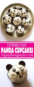 Make these adorable panda cupcakes. Really easy dessert recipe using common stuff you can buy at the grocery store. No baking skills required! Great for kid parties, panda-themed events, or school functions. Child-friendly recipe, too, great to get children cooking and baking, all while make cute food that makes them excited to bake. Explore the web site for more cooking and recipe tutorials with good, clear photos and instructions. It's pandamonium over here at http://letgoofbeingperfect.com/