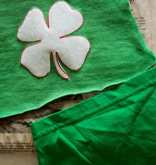 Bleach Spray Shirt Shamrock DIY Sewing Tutorial for St. Patrick's Day - Refashion / upcycle those t-shirts with bleach and water! Step-by-step DIY sewing tutorial for upcycling clothes into some other type of clothing or accessory. Remake, redo, reuse, and recycle to help save money and save the planet. Explore the web site for more refashioning tutorials, dozens of cute refashionista and fashion ideas with good, clear photos and instructions. http://letgoofbeingperfect.com/