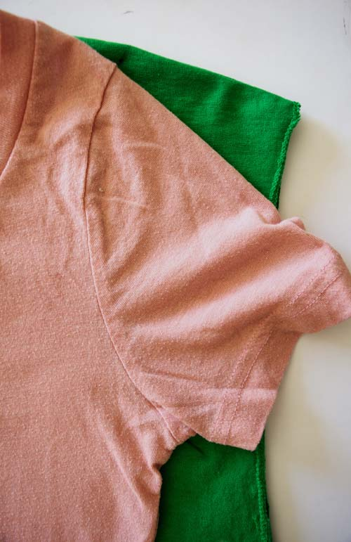 Bleach spray shirt shamrock DIY sewing tutorial for St. Patrick's day. #refashionista #upcycled #clothing #clothes #recycle
