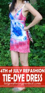 Make this July 4th Tie Die Dress from two plain white men's t-shirts! Full DIY sewing step-by-step tutorial. #recycle #upcycle #refashionista