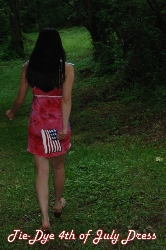Make this July 4th Tie Die Dress from two plain white men's t-shirts! Full DIY sewing step-by-step tutorial. #recycle #upcycle #refashionistas