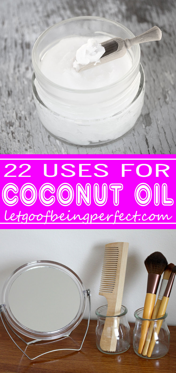 22 Awesome Uses for Coconut Oil - Coconut oil is one of nature's superfoods. This list shows you 22 fantastic uses for coconut oil. Great for hair, skin, food, baby, and even furniture! You can find refined or unrefined coconut oil right in your grocery store aisle. Explore the web site for more craft tutorials, dozens of cute refashionista and fashion ideas with good, clear photos and instructions. http://letgoofbeingperfect.com/